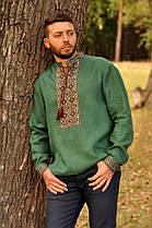 Вышиванка мужская с зеленого льна