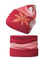 Детская зимняя вязаная шапочка от BARBARAS Польша красный/розовый, 50-52