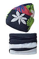 Детская зимняя вязаная шапочка от BARBARAS Польша черный/белый, 50-52