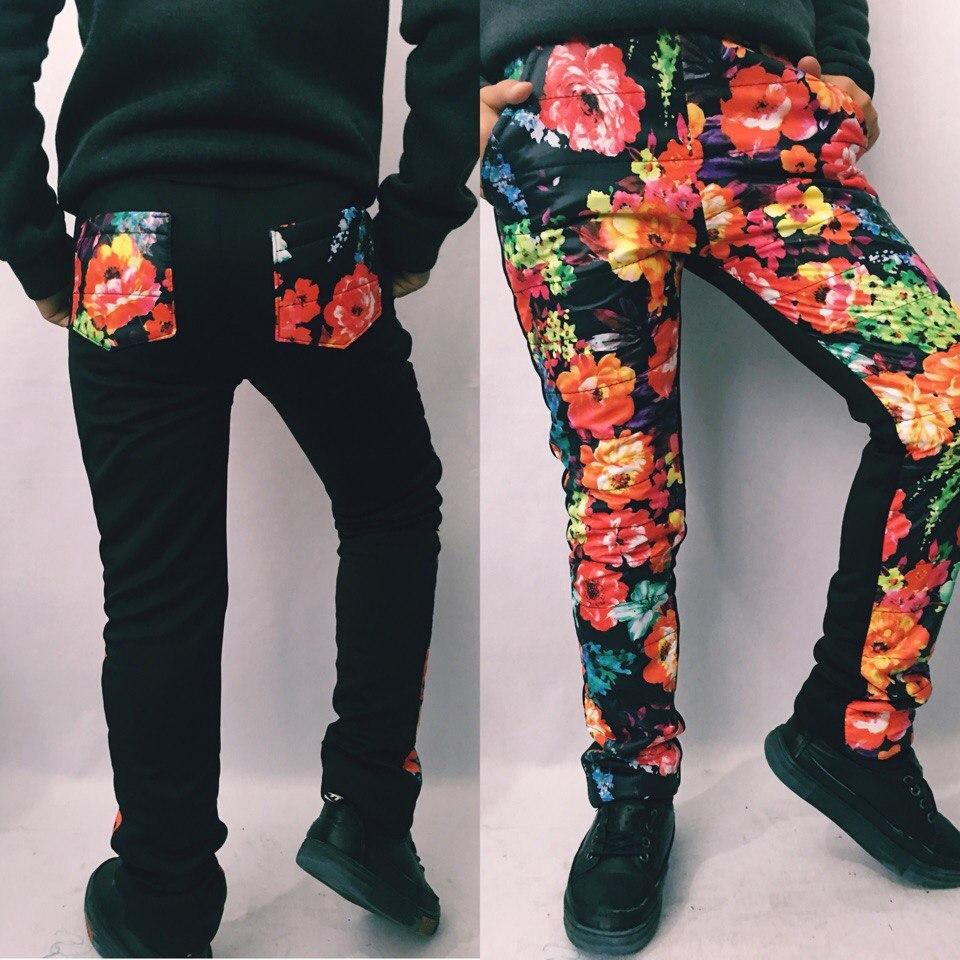 """Теплые детские спортивные штаны на флисе """"Alice"""" с карманами и цветочным принтом"""