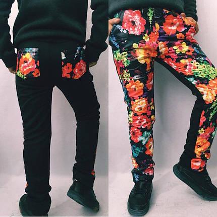 """Теплые детские спортивные штаны на флисе """"Alice"""" с карманами и цветочным принтом, фото 2"""