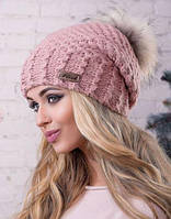 """Женская зимняя вязаная шапка с меховым бубоном """"Кристи"""""""