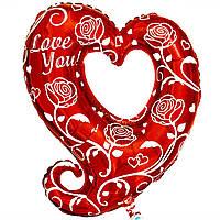 Love you cердце с розами (79х80 см) (надут гелием)