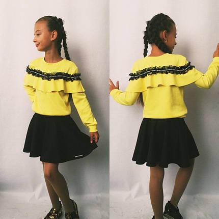 """Подростковый трикотажный костюм для девочки """"Lisa"""" с кружевом и оборками (2 цвета), фото 2"""