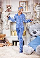 Стильный домашний костюм - пижамка, материал двунитка, цвет индиго