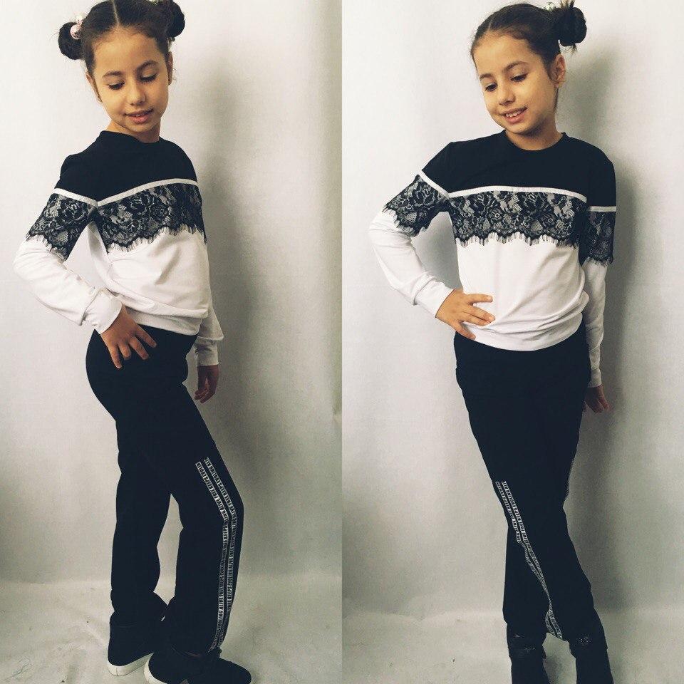 """Детский трикотажный спортивный костюм для девочки """"Ashley"""" с кружевом (2 цвета)"""