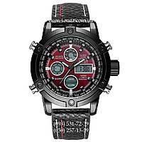 Армейские часы AMST 3022 Black-Red Fluted Wristband, кварцевые, противоударные, армейские часы АМСТ черный, реплика