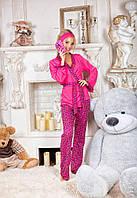 Стильный домашний костюм - пижамка, материал двунитка, цвет малиновый