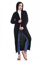Вязаный черный кардиган LIKA ТМ FashionUp 42-50 размеры