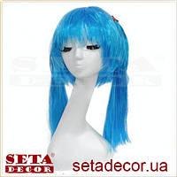 Голубой парик Аниме Косплей с 2 хвостиками карнавальный
