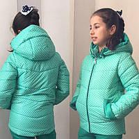 """Детская зимняя куртка для девочки """"Горошинка"""" с капюшоном (2 цвета)"""