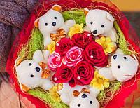 Букет из игрушек и цветов Улыбка - восторг ребенка или любимой девушки гарантирован
