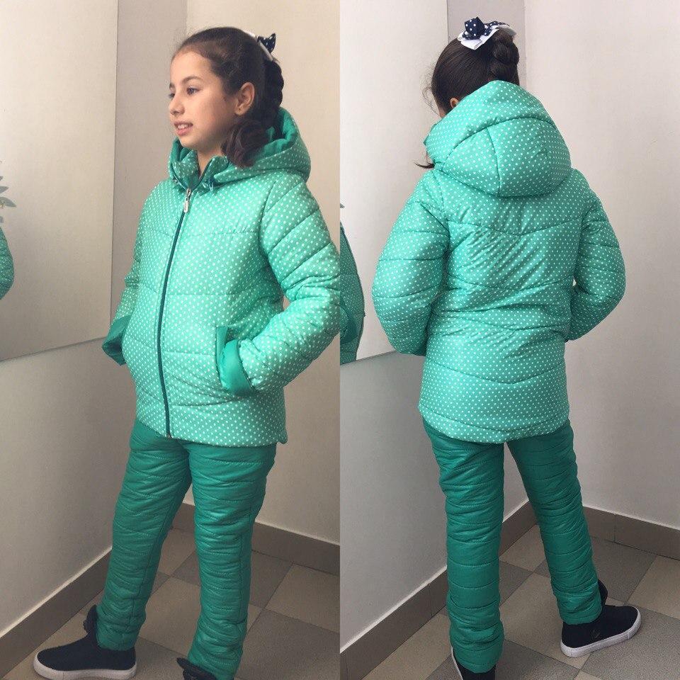 """Детский зимний костюм на синтепоне """"Горошинка"""" с капюшоном (2 цвета)"""