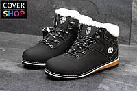 Зимние ботинки в стиле Timberland, цвет - черный, материал - нубук, утеплитель - мех