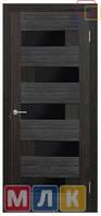 ОМИС Двери ламинированные пленкой ПВХ Серия ПВХ 5-й элемент Домино, черное стекло, 2000*600*34 мм