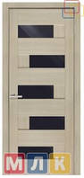 ОМИС Двери ламинированные пленкой ПВХ Серия ПВХ 5-й элемент Домино, черное стекло, 2000*900*34 мм