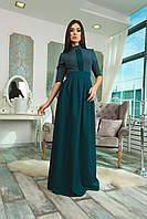 Платье длинное в пол нарядное темно-зеленый и марсала S M L
