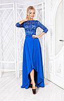 Элегантный костюм: гипюровый топ и юбка с асимметричным низом, цвет электрик