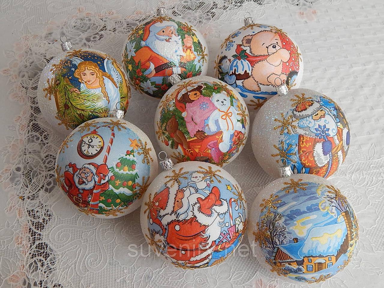 Новогодние шары, украшения на елку 10см