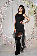 Платье женское нарядное с сеткой спереди короче сзади длиннее