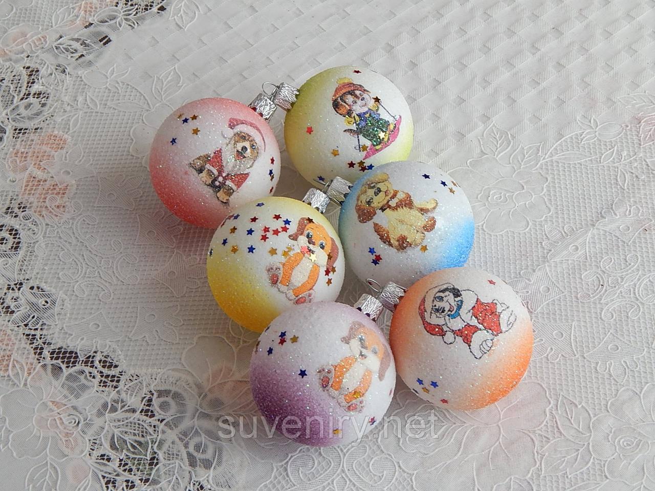 Новогодние игрушки шары с собачкой 6см разноцветные
