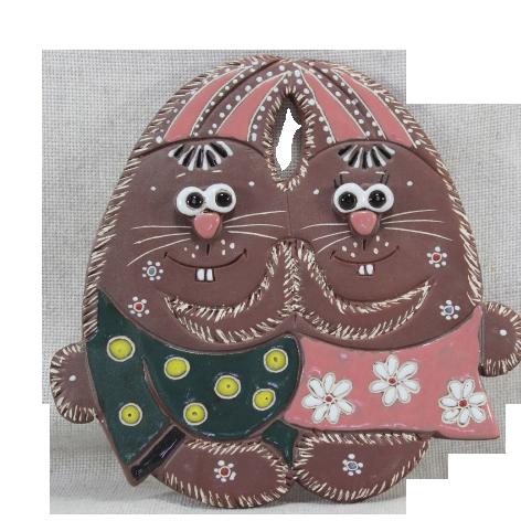 Сувенир керамический «Зайцы парочка»