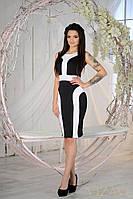 Облегающее платье черное+белые вставки
