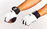 Перчатки для тхэквондо с фиксатором запястья MOOTO  (PU, полиэстер S-XL, белый)