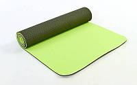Коврик для фитнеса и йоги TPE+TC 6мм двухслойный FI-3046-8
