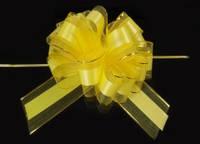 Бант-затяжка для упаковки подарков  желтый (ш. ленты 7 см)