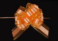 Бант-затяжка для упаковки подарков  оранжевый (ш. ленты 7 см)