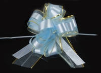 Бант-затяжка для упаковки подарков  голубой (ш. ленты 7 см)