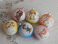 Красивые новогодние игрушки шары с собачками 8см