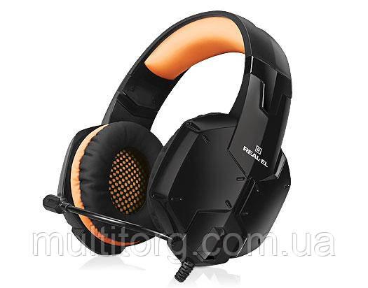 Наушники REAL-EL GDX-7700 SURROUND 7.1 black-orange игровые с микрофон