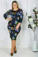 Женское платье  до колен с цветочным принтом БАТАЛ, фото 1
