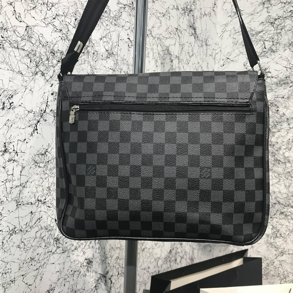 9dc8c60f4a16 Сумка мужская Louis Vuitton District Damier Graphite 18107 серо-черная, ...