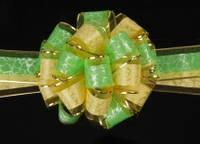 Бант-затяжка для упаковки подарков желт./салат.(ш. ленты 5 см)