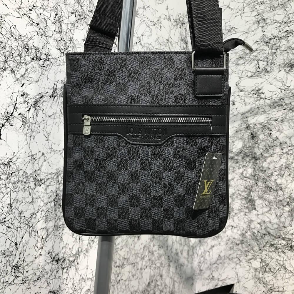 74a7c1baf8de Сумка мужская Louis Vuitton District Pochette Damier Graphite 18115 серо- черная