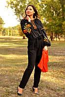 Вышиванка женская из льна цвет черный