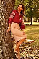 Вышиванка женская из льна цвет марсала (бордовый)