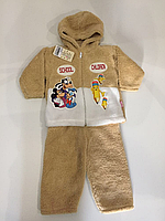 Детский костюм вельсофт кофейный р.3-6 мес