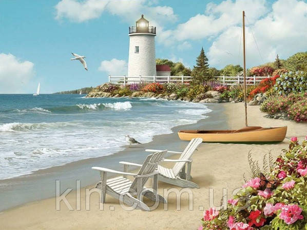 Алмазная вышивка квадратные камни Пляжный отдых у моря 50 х 40 см (арт. FS665)