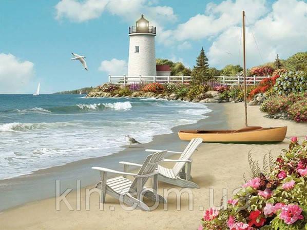 Алмазная вышивка квадратные камни Пляжный отдых у моря 50 х 40 см (арт. FS665) , фото 1