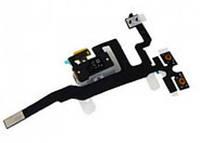 Шлейф для iPhone 4S белый с кнопками регулировки громкости, конектором наушников, оригинал