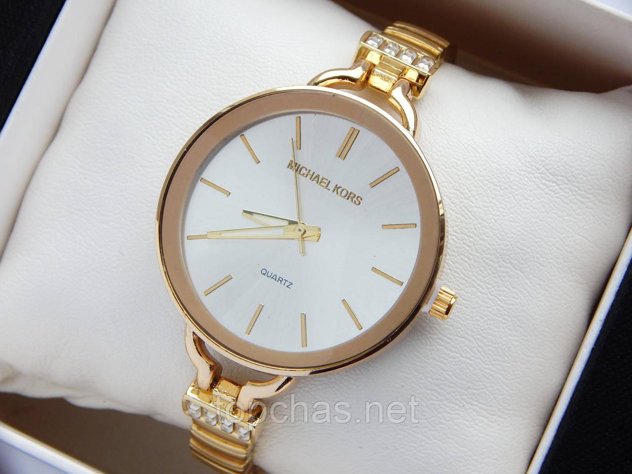 8af7a97c Женские кварцевые наручные часы Michael Kors золотого цвета, серебристым  циферблатом, на тонком браслете