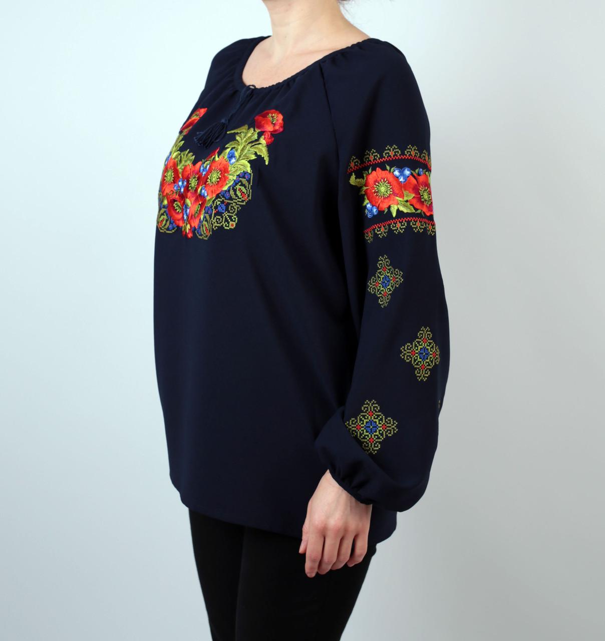 9ed27d42f3e Жіноча шифонова блузка темно-синього кольору з етнічним орнаментом  недорого