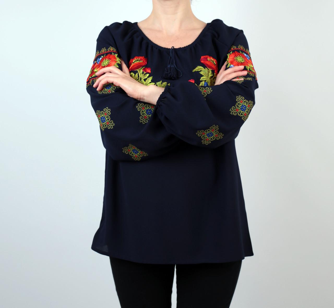 bba0073d16c ... Жіноча шифонова блузка темно-синього кольору з етнічним орнаментом  недорого