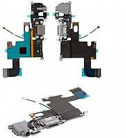 Шлейф для iPhone 6 с разъемом зарядки, коннектором наушников и микрофоном темно-серый
