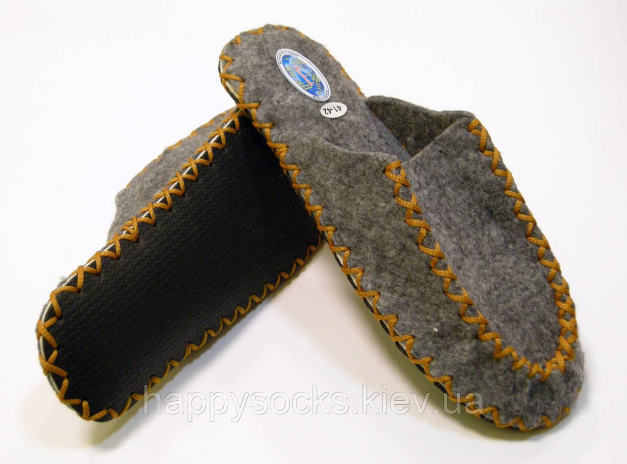 Тапочки ручной работы из войлока для мужчин с горчичным шнурком