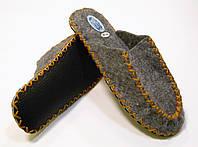Тапочки ручной работы из войлока для мужчин с горчичным шнурком, фото 1